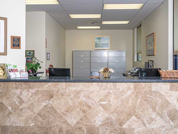 The front desk at our modern dental office in Burlington, WA
