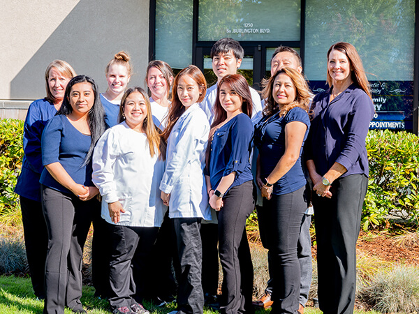 Our entire Burlington Family Dentistry team outside